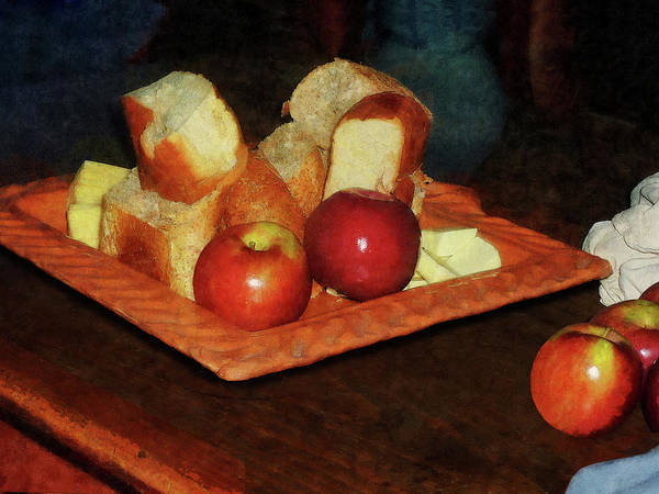 Apples Art Print featuring the photograph Apples And Bread by Susan Savad