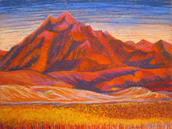 Arizona Art Print featuring the painting Arizona Mountains At Sunset by Art Nomad Sandra Hansen