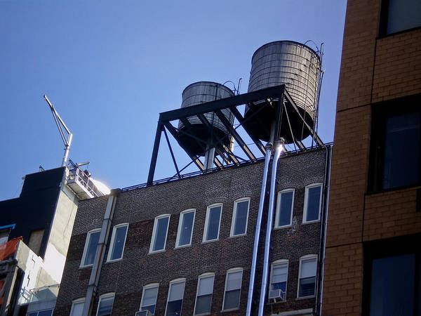 New York Nyc Ny Brian Water Towers Building Buildings Windows Window Coblitz Brick Art Print featuring the photograph Art District In Nyc Looking Up by David Coblitz