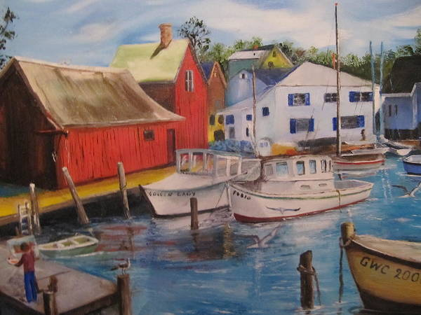 Red Art Print featuring the painting Artist In New England Dock by Gloria Condon