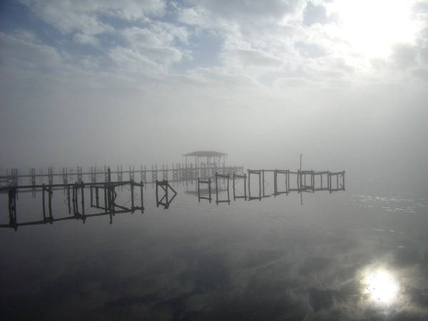 Fog Mist Sun Water Landscape Grey Blue Dock Clouds Art Print featuring the photograph As The Fog Lifts by Nicole I Hamilton