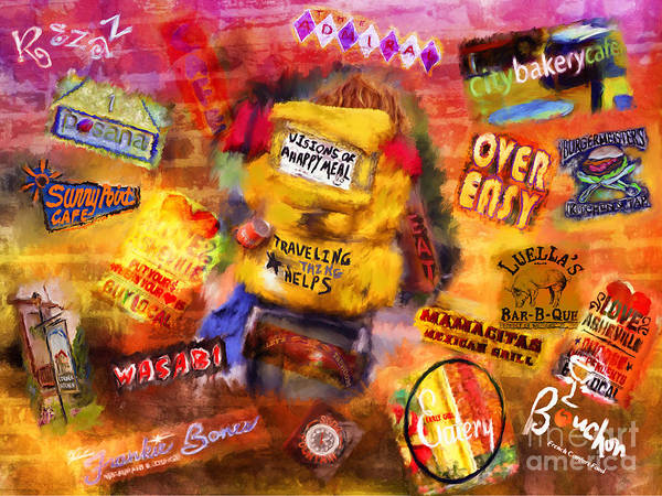 Asheville Art Print featuring the mixed media Asheville Eats by Marilyn Sholin