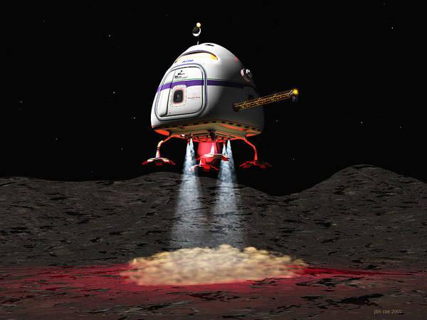 Jim Coe Art Print featuring the digital art Asteroid Miners Mule by Jim Coe