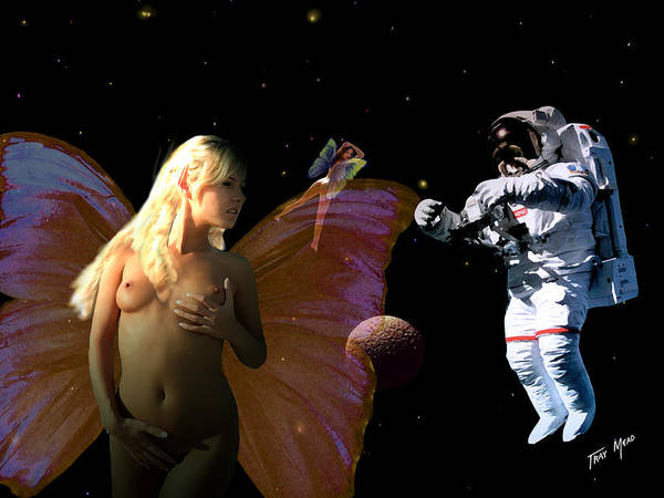 Space Art Print featuring the painting Astronaut And The Fairies by Tray Mead