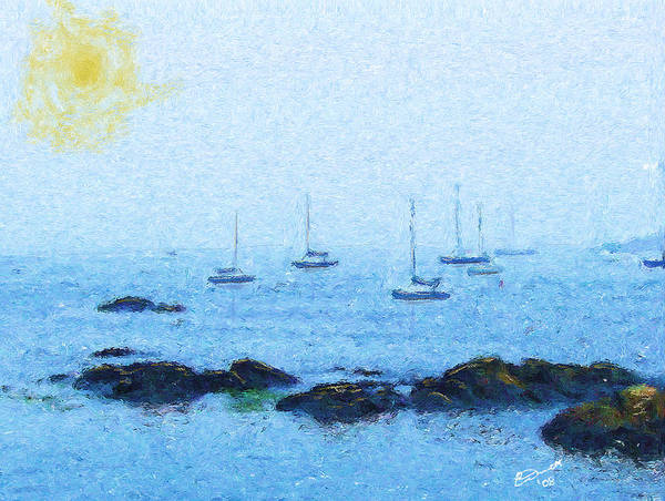 Sail Sailing Harbor Ocean Sea Marblehead Mass Bay Art Print featuring the painting Attente Pour La Brise by Eddie Durrett