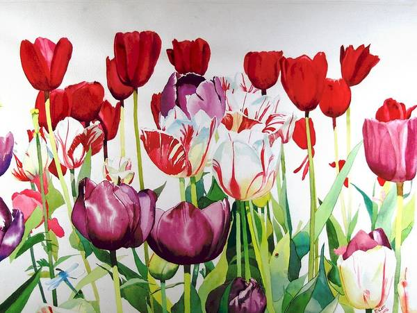 Tulips Print featuring the painting Attention by Elizabeth Carr