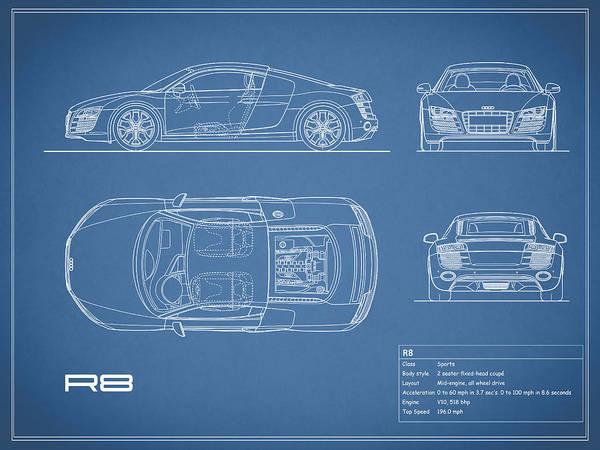 Audi r8 blueprint art print by mark rogan audi r8 art print featuring the photograph audi r8 blueprint by mark rogan malvernweather Gallery