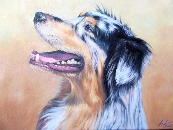 Dog Art Print featuring the painting Australian Shepherd Dog by Nicole Zeug