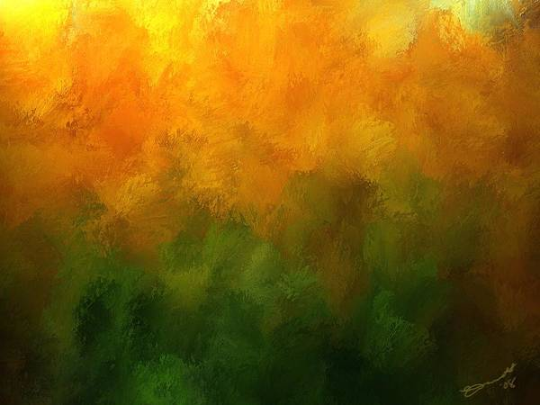 Orange Fall Autumn Yellow Green Pumpkin Trees Forest Light Sun Season Mood Transition Art Print featuring the painting Autumn Fire New England by Eddie Durrett