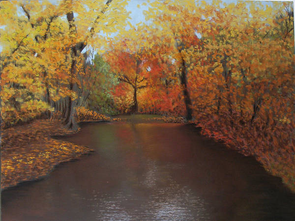 Landscape Art Print featuring the painting Autumn Fire by Susan Jenkins