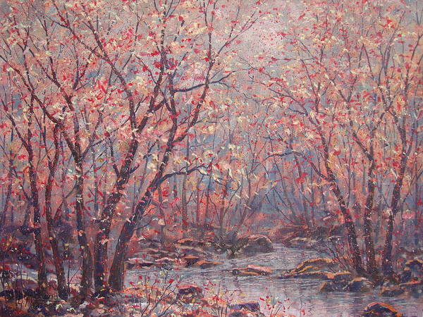 Landscape Art Print featuring the painting Autumn Harmony. by Leonard Holland