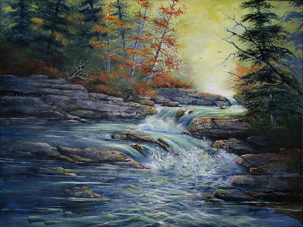 Landscape Art Print featuring the painting Autumn Stream by Brooke Lyman