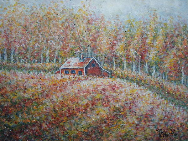 Landscape Art Print featuring the painting Autumn Whisper. by Natalie Holland