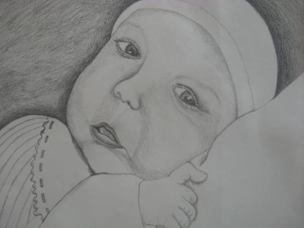 Baby Art Print featuring the drawing Baby Girl Horizontal by Theodora Dimitrijevic