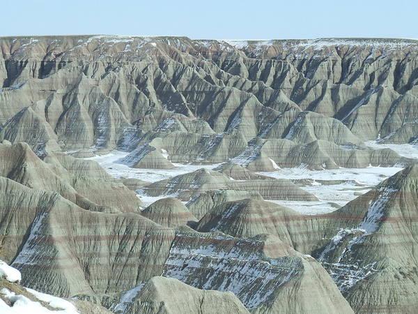 Landscape Art Print featuring the photograph Badlands Under Snow by Dennis Wilkins