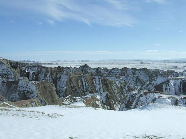 Landscape Art Print featuring the photograph Badlands Under Snow II by Dennis Wilkins