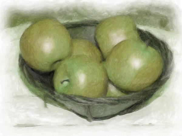 Apples Art Print featuring the digital art Baking Apples by Susan Lipschutz