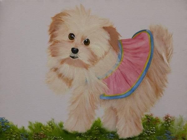 Portrait Art Print featuring the painting Ballerina Puppy by Joni McPherson