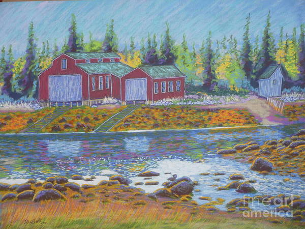 Pastel Art Print featuring the pastel Barkhouse Boatsheds by Rae Smith