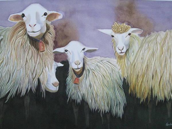 Sheep Just Hanging Around Art Print featuring the painting Barnyard Series by Barbara Pascal