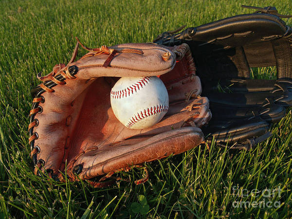 Baseball Art Print featuring the photograph Baseball Gloves After The Game by Anna Lisa Yoder