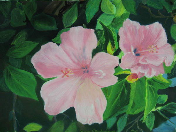 Hibiscus Art Print featuring the pastel Basking In The Sun by Diane Larcheveque