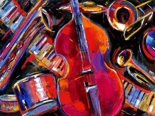 Jazz Art Print featuring the painting Bass And Friends by Debra Hurd