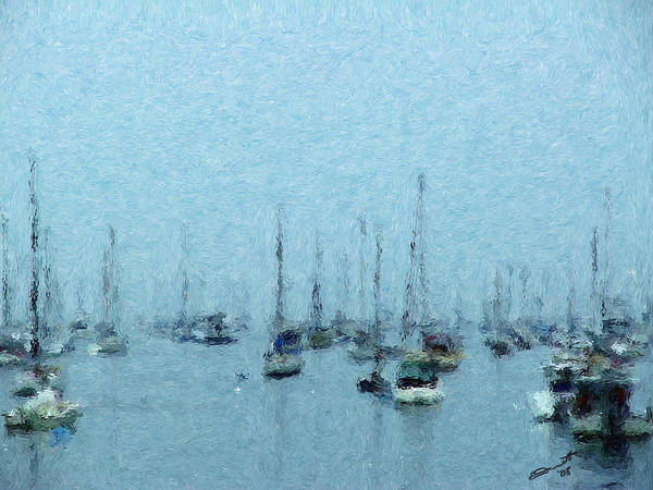 Sail Boats Marblehead Mass Harbor Sailing Anchored Bay Sea Art Print featuring the painting Bateaux Au Repos by Eddie Durrett