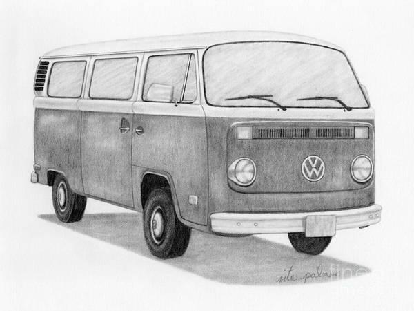 Bay window bus art print by rita palmer for 16 window vw van