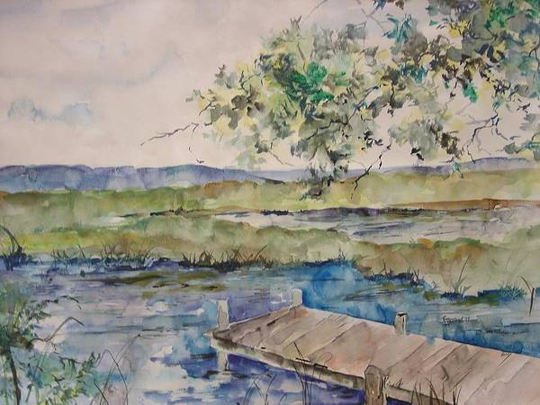 Landscape Art Print featuring the painting Bayou At Carr Drive by Robin Miller-Bookhout