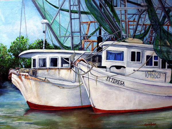 Boats Art Print featuring the painting Bayou Boats by Elaine Hodges