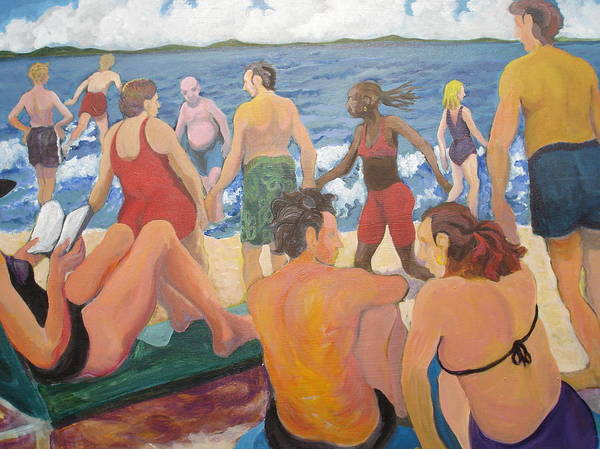 People Art Print featuring the painting Beach Day by Rufus Norman