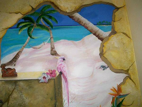 Beach Art Print featuring the painting Beach Mural by Kathleen Heese