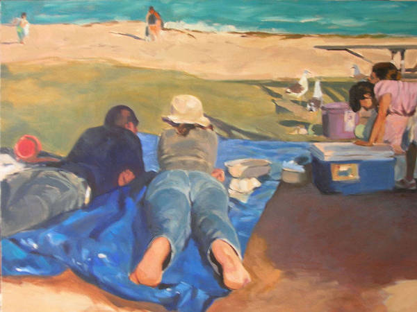 Beach Art Print featuring the painting Beach Picnic by Merle Keller