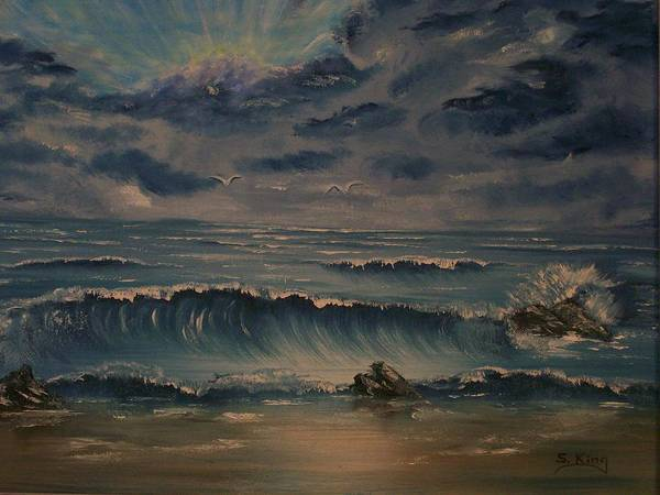 Water Art Print featuring the painting Beach Scene by Stephen King