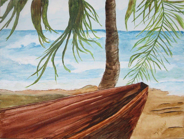Landscape Art Print featuring the painting Beached Boat by Maris Sherwood