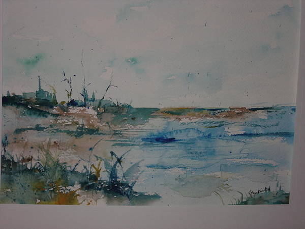 Grasses Art Print featuring the painting Beachside by Robin Miller-Bookhout