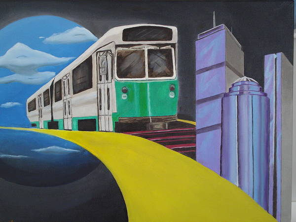 Boston Art Print featuring the painting Beantown Transit by Michael Holmes
