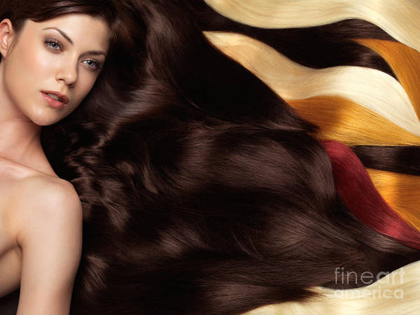 Hair Art Print featuring the photograph Beautiful Woman With Hair Extensions by Oleksiy Maksymenko