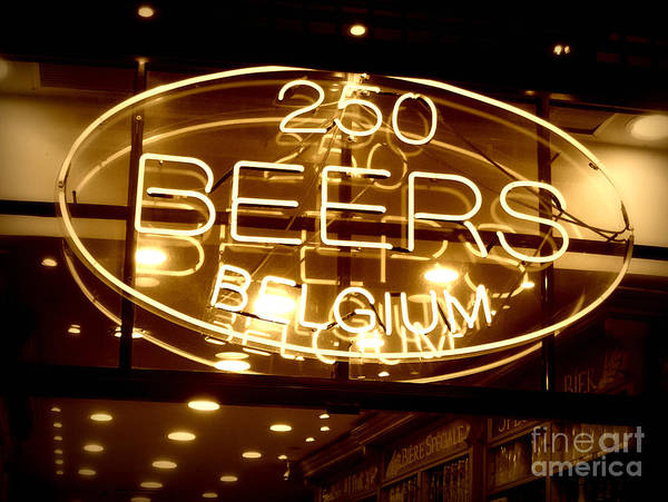 Home Bar Art Print featuring the photograph Belgian Beer Sign by Carol Groenen