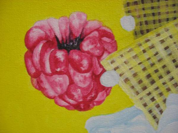 Rasberry Art Print featuring the painting Berry Mix 1 by Theodora Dimitrijevic