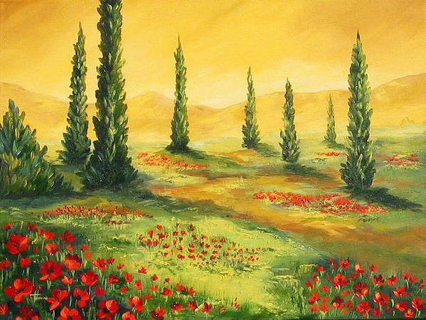 Tuscan Art Print featuring the painting Beyond The Tuscan Sun by Torrie Smiley