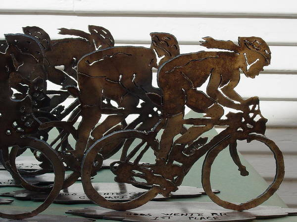 Steel Art Print featuring the sculpture Bicycle Trophies by Steve Mudge