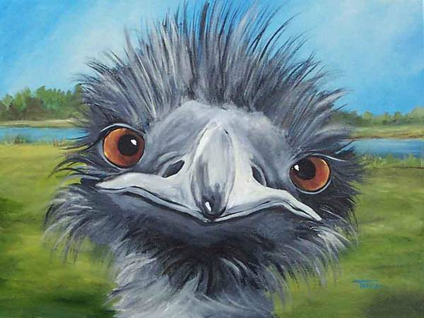 Emu Art Print featuring the painting Big Bird - 2007 by Torrie Smiley