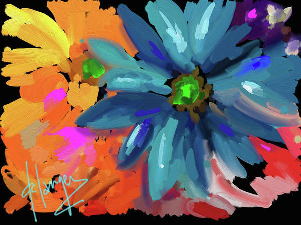 Blue Flower Art Print featuring the painting Big Blue Flower by DC Langer
