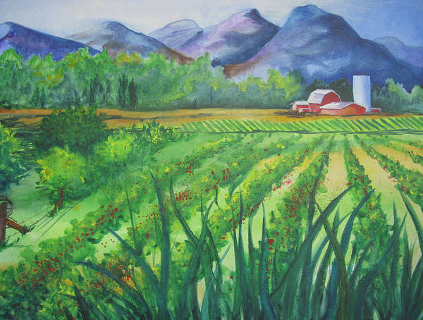 Landscape Art Print featuring the painting Big Valley Farm by Karen Stark