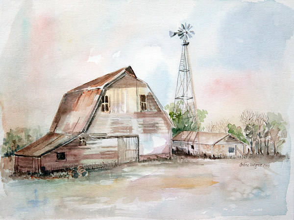 Barn Art Print featuring the painting Bigelow's Barn by Arline Wagner