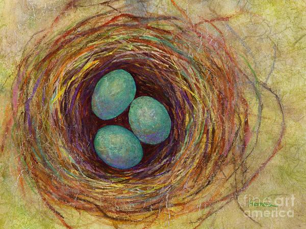 Eggs Art Print featuring the painting Bird Nest by Hailey E Herrera