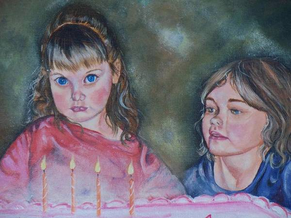 Children Art Print featuring the painting Birthday Candles by Sandra Valentini