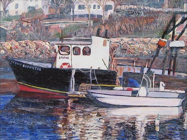 Boat Art Print featuring the painting Black Boat Reflections by Richard Nowak